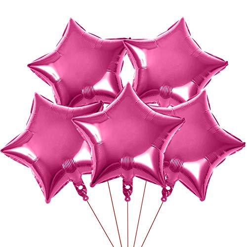 Yisscen 25 Stück Stern Folienballon, 18 Zoll Luftballons Geburtstag Party Dekoration, Sternluftballons Heliumballon für Geburtstag, Hochzeit, Valentinstag, Weihnachtsfeier Deko(Rosa)