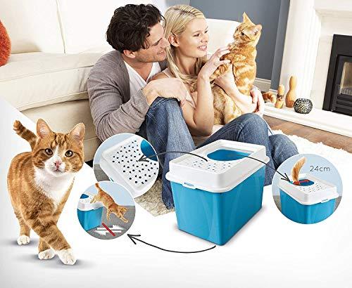 Katzentoilette Berty mit Top-Eingang – einfach zu reinigendes Katzenklo – aus Kunststoff(Plastik (PP) – Größe (LxBxH) 55.5 x 40 x 38.7 cm – schwarz/weiss - 4