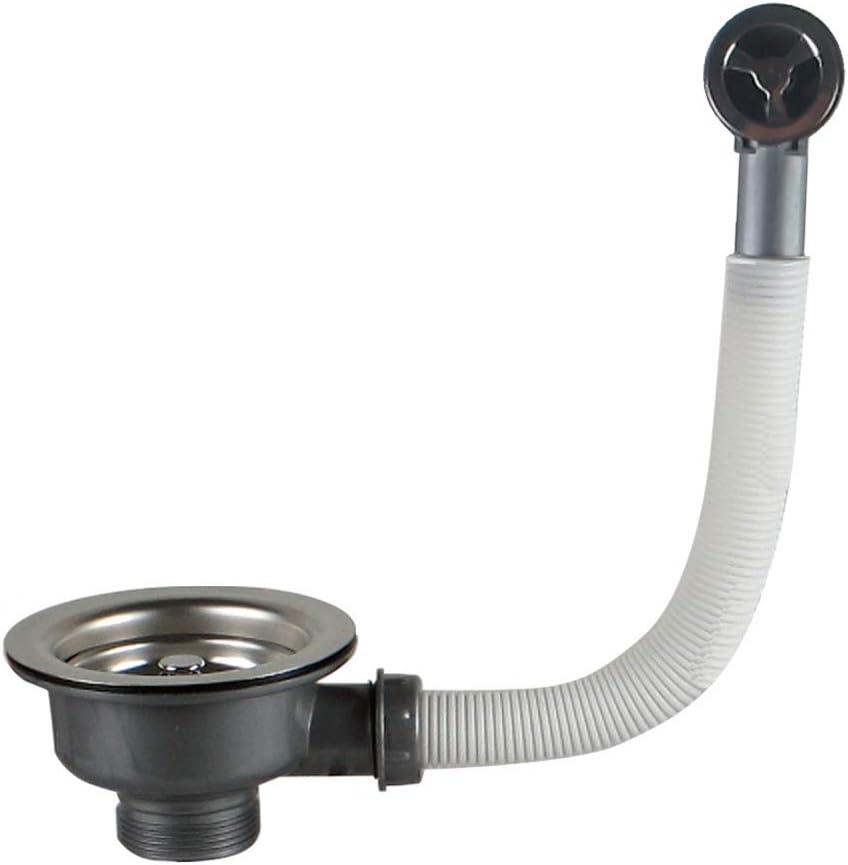 Residuos cesta colador y tubo de desagüe, Valvula Fregadero 110 1 1/2'' Cesta Honda, Acero inoxidable + ABS