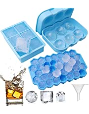 Zerome 3PCS Silicone Ice Cube Tray Molds with Lid & Funnel, Reusable BPA Free Freezer Ice Ball + Large Square + Hexagonal Shapes Ice Maker for Whiskey Funny