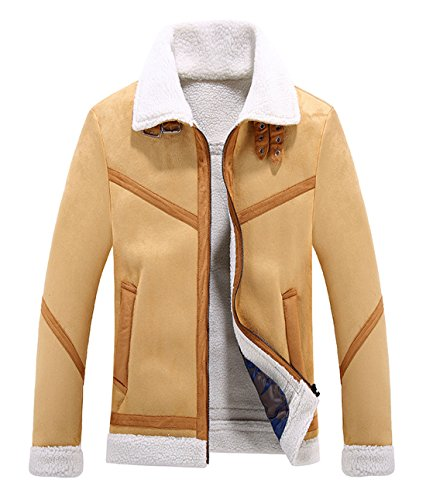 CHARTOU Men's Winter Spread Collar Sherpa Lined Suede Leather Trucker Jacket Coats (Large, Camel)