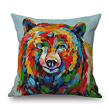 Throw Pillow Cover 18 x18 Oil Painting Colorful Vivid Bear Blue Brown Spring Summer Home Decor Invisible Zipper Durable Decorative Cushion Cover Pillow Case Sofa Couch Bedroom Living Room Dorm Car