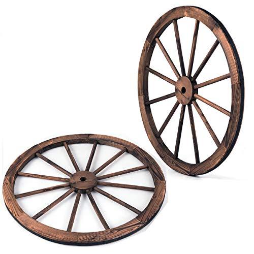 Giantex 2 x Wagenrad Holz, Holzrad mit 12 Speichen, Dekorad Braun mit Eisenblech, Dekoratives Wagen Rad für Bar,...