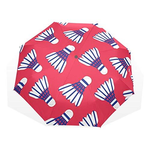 Kompakter Regenschirm Kinder Übung Spaß Sport Badmintonball 3 Faltkunst Regenschirme (außerhalb Druck Faltschirm für Mädchen Regenschirm für Jungen Faltschirm Männer