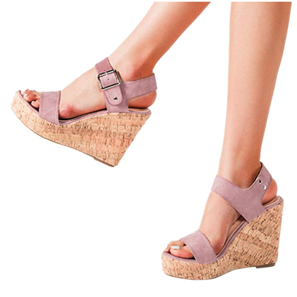 Womens Ladies Sandals Wedge Strappy Summer Casual Platform Shoes UK Size 3-6.5