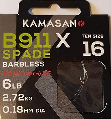 Kamasan Extra Strong B911 Barbless Spade Fishing Hooks To Nylon Size 16 Coarse Carp Tackle