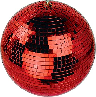 """Netagon 300mm (12"""""""") Lightweight Ceiling Hanging Mirror Ball Ideal for Disco Halloween Christmas Birthday Party Decor (Red)"""