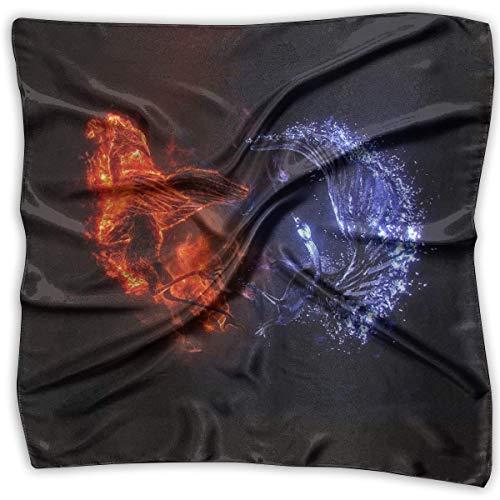 Pañuelo, pañuelo de fantasía rojo azul Phoenix, elegantes pañuelos para correr atlético, 100X100CM ⭐