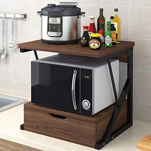 ZPEM Mensola per Forno a Microonde Kitchen Scaffale per Ripiano con Ripiano Allungabile 2 Mensole Mensola da Cucina