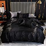 Satin Bedding Set Queen Size Black Silk Like Satin Duvet Cover Set Hotel Luxury Soft Comforter Cover Adults Bedroom Decor Chic Luxurious Silky Bedspread Cover Zipper (1 Duvet Cover + 2 Pillow Case)