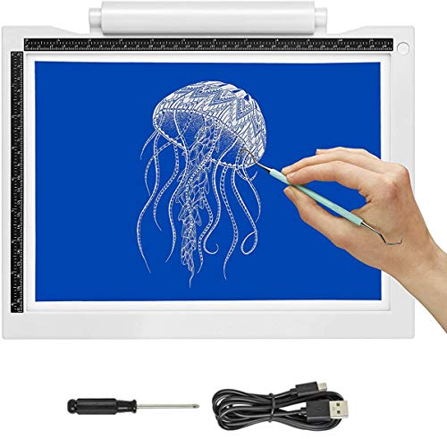 iVyne Bright Crafting Light Pad A4 - Battery & Cable Powered LED Light Box - Batteries Not Included -for Cricut Vinyl Weeding Tools, Tracing, Drawing, Sketching, Crafting, and HTV Vinyl (White)