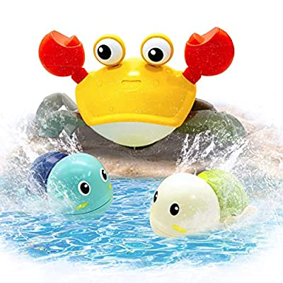 KiDEPOCH Baby Bath Toys for Toddlers 3-4 Years Old Wind-up Crab & Turtles Bathtub Bath Toys for Toddlers 1-3, Amphibious Crab & Swimming Turtles Baby Bathtub Toys for Boys & Girls