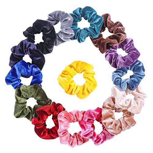 Frcolor Haar Scrunchies Samt 15 Stück Haargummis groß samt Elastisches Haar Band Bobbles für Mädchen Frau