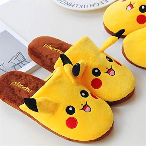 HMZJXZ Y Pokémon Kawaii Pikachu Pantoufles en peluche pour intérieur chaud pour adulte Chaussures de dessin animé Anime Enfants Fille Cadeau de Saint-Valentin