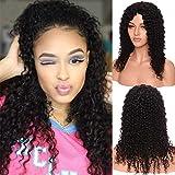 S-noilite Pelucas brasileñas de pelo humano para todas las mujeres de onda profunda parte media sin encaje frontal hecho a máquina natural negro 16 pulgadas/40,5 cm