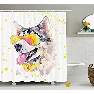 Ambesonne Animal Shower Curtain by, Funny Husky Dog with Sunglasses Humorous Cute Watercolor Cool Puppy Picture, Fabric Bathroom Decor Set with Hooks, 75 Inches Long, Yellow Grey Beige