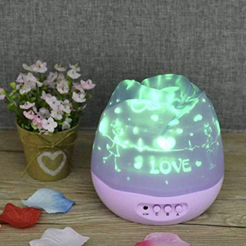 Nachtlicht Romantische Rosenknospen Sternenhimmel Projektor Nachtlicht USB Wiederaufladbare Led Nachtlampe Kinder Baby Kinder Geschenk Lila