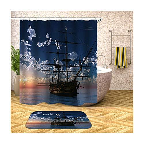 MaxAst Badematte Und Wc Vorleger Set Bunt Segelboot Duschvorhang Anti-Schimmel Badezimmerteppich Polyester Badewanne Vorhang 180x200CM