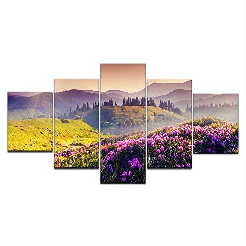 DGGDVP 5 stuks Hd Inkjet canvas schilderij Prairie bloem zonset landschap kunst groep decoratie wand poster modulaire afbeelding 40x60cmx2,40x80cmx2,40x100cmx1 No Frame