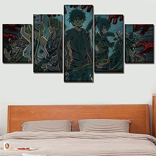 YZQFFY Leinwanddrucke Leinwanddruck 5 Stück Anime Highschool of The Dead Malerei Dekorative Rahmen Wandkunst Modulare Bilder Für Wohnzimmer Poster