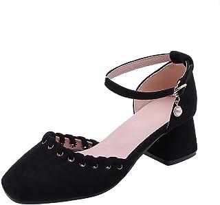 BalaMasa Womens ASL06357 Pu Block Heels