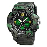 SKMEI Mens Digital Sports Watch, Military Outdoor Waterproof Electronic Army Green Watches Multifunction Alarm Clock LED Stopwatch Wristwatch