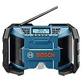 Bosch Professional 0601429200 12V System Radio de Chantier sans-fil GPB 12V-10 (Câble AUX de 3,5 mm, FM/AM, MP3, avec Bloc Secteur, sans Batterie/Chargeur, Boite Carton) Bleu
