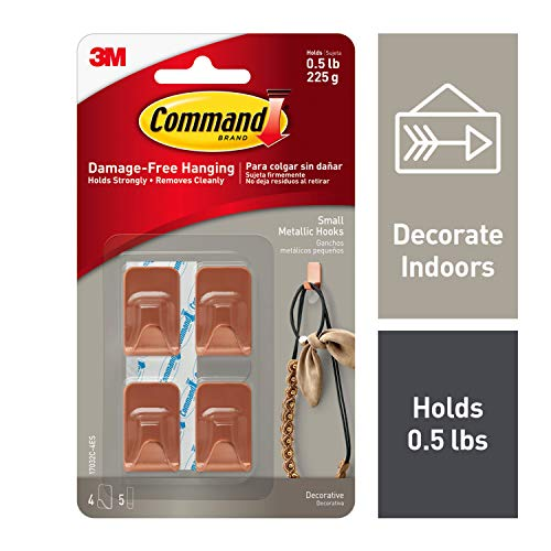 Command Metallic Hooks, Copper, Small, Decorate Damage-Free, 4 hooks, 5 strips (17032C-4ES)