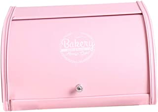 Flameer Metal Bread Box - Countertop Space-Saving, Extra Large, Vintage Style Bread Storage Bin for Kitchen - Antique Design with Roll up Lids 3 Colors - Pink, 30 x 25.5 x 16.5cm