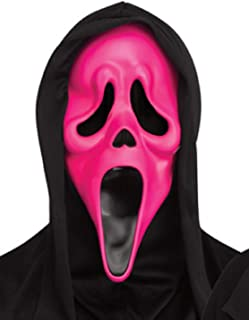 Adults Official Ghost Face Scream Film Fluorescent Neon Green Orange Pink Masks Halloween Fancy Dress Accessory