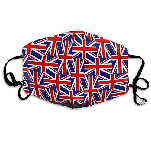 Unisex Breathable Reusable British Pattern Composed From National Flags Of The United Kingdom Mouth Mask, Adjustable Earloop Anti Dust Half Face Mask(10 filters)