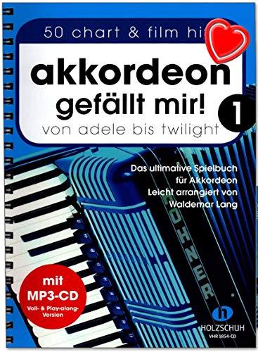 Akkordeon gefällt mir Band 1 - ultimative Spielbuch (leicht arrangiert) von Waldemar Lang - mit CD, Notenklammer VHR1854CD 9783864340598