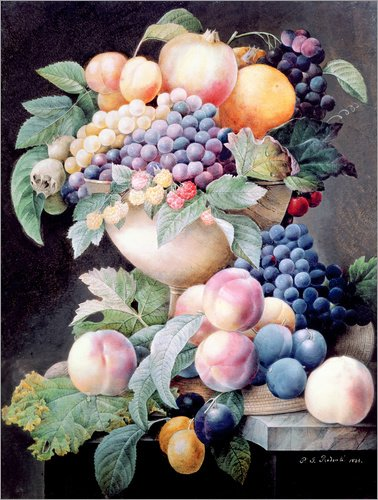 Posterlounge Acrylglasbild 60 x 80 cm: Früchte von Pierre Joseph Redouté/Bridgeman Images - Wandbild, Acryl Glasbild, Druck auf Acryl Glas Bild