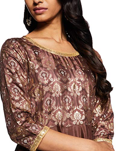 Aurelia Rayon Empire Dress (19AUA11133-500806_Brown_XS)