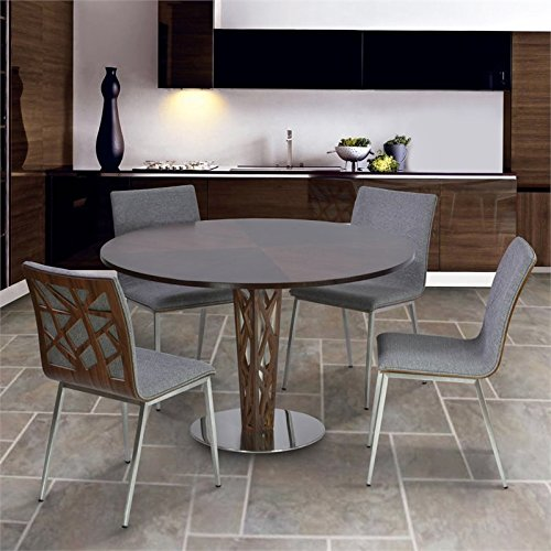 Armen Living Crystal 5 Piece Round Dining Set in Walnut and Gray