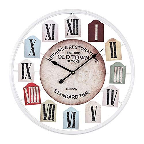 Yuany Europese industriële vintage klok, grote stille batterij bediende wandklok, metalen decoratieve klok voor huis Loft woonkamer - zwart Diameter 50cm