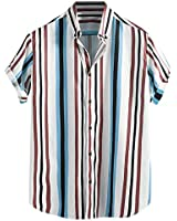 Mens Breathable Striped Shirts,Turn Down Collar Short Sleeve Loose Casual Button-Down Work Shirts- Big & Tall Blue