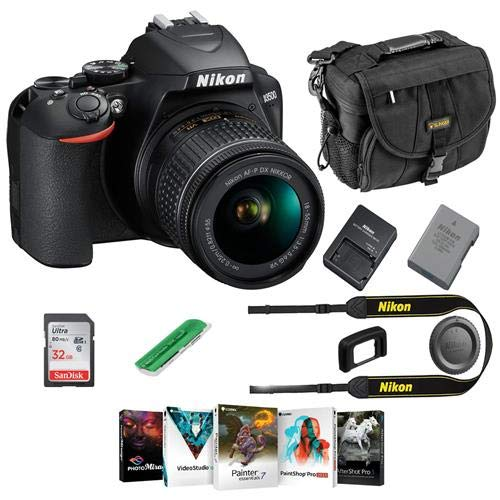 Nikon D3500 24MP DSLR Camera with AF-P DX NIKKOR 18-55mm f/3.5-5.6G VR Lens, Black - Bundle with Camera Case, 16GB SDHC Card, Card Reader