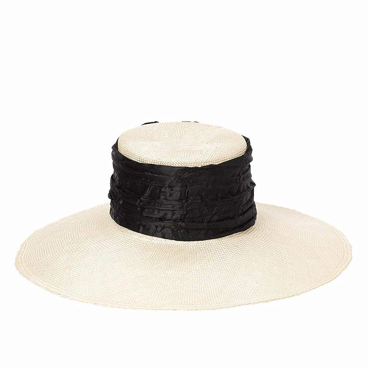 ホーン動力学のために日焼け止めサンシェードビーチ麦わら帽子とファッションシンプルなサイザル大流域型麦わら帽子の折り畳み