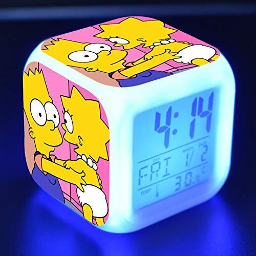 FJNS The Simpsons Wecker Kinder Digital mit Buntes LED-Licht Wake Up Lichtwecker & Snooze Kindertagesgeschenk für Kinder,5