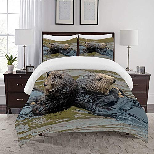 LENYOVO Duvet Cover Set-Bedding,Otters Dining Together,Quilt Cover Bedlinen-Microfibre 200x200cm with 2 Pillowcase 50x80cm