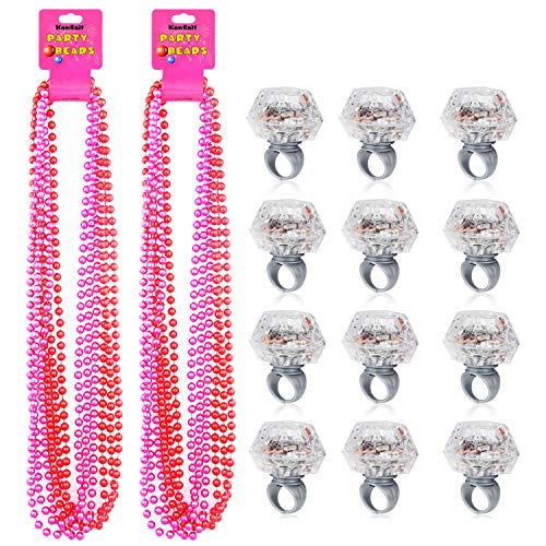 Konsait Party Beads Necklaces(12pcs) & Light Up Engagement Diamond Rings(12pcs), Bachelorette Party Light Up Rings with Bachelorette Party Beads 33inch (Pink & Red)