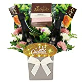 The Chocolate & Popcorn Bouquet with Silk Roses & 2 x Vino Spumante Prosecco