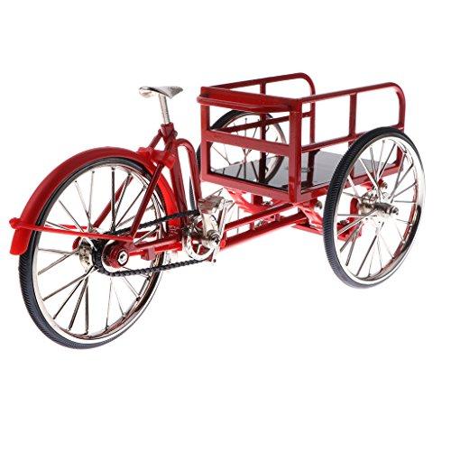 MagiDeal 1:10 Maßstab Legierung Diecast Fahrrad Rennrad Rikscha Dreirad Einrad Modell für Puppenhaus Dekoration - Rot, 5