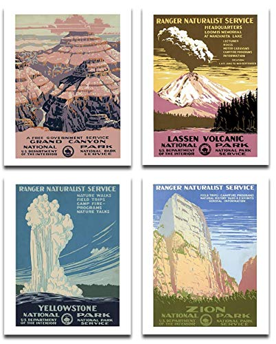 National Parks Art Prints Set - Set of Four Photos (8x10) Unframed - Great Gift and Decor for Hikers, Campers and Home Under $20
