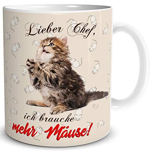 TRIOSK Tasse Katze lustig mit Spruch Mehr Mäuse Katzenmotiv Geschenk für Arbeit Büro Katzenliebhaber Frauen Freundin Kollegin