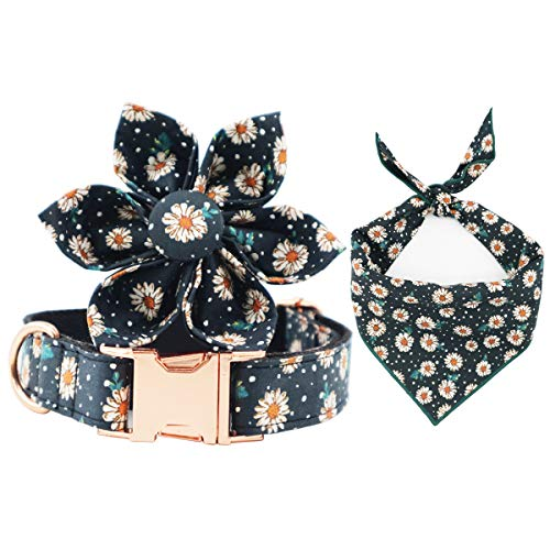 Price comparison product image T.A.Bird Dog Collar,  Daisy Floral Dog Collar,  Cat Collar,  Dog Collar Floral with All-Metal ZINC Buckle (L)