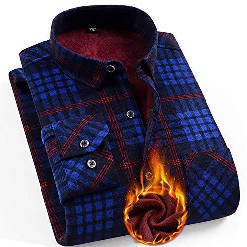 ZHANGSL Männer Kord Thermohemd, Lumberjack Wolle dick Kariertes Hemd geeignet für Büro Männer im Freien täglich Shirt T-Shirt,F,XXL