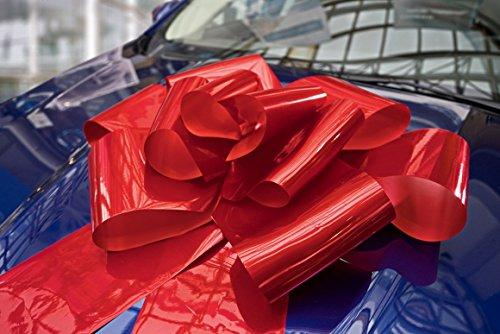 Riesige Große Rote Schleife 76 cm für Auto Fahrrad Geburtstag Geschenk Hochzeit und Weihnachten - Magnetische Autoschleife mit 185 cm Bänder - Hält mit Magneten und Saugnapf