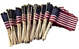 WINDSTRONG Lot of -100-4x6 Inch US American Hand Held Stick Flags Safety Ball Top Made in The USA